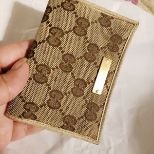 Gucci gg monogram canvas leather slim I'd wallet